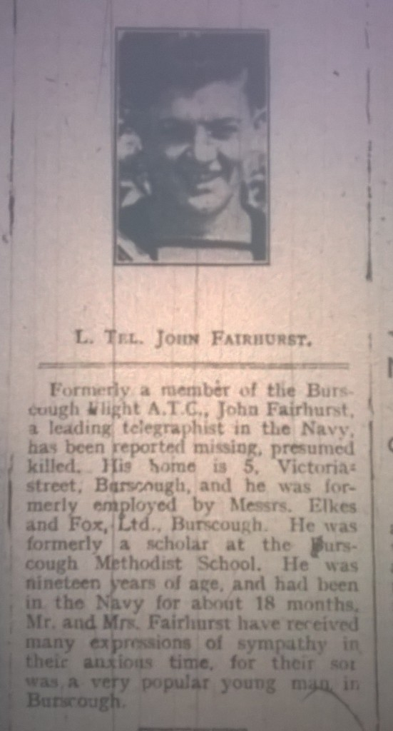 Fairhurst Navy telegraphist Missing assumed killed Burscough Lad (2)