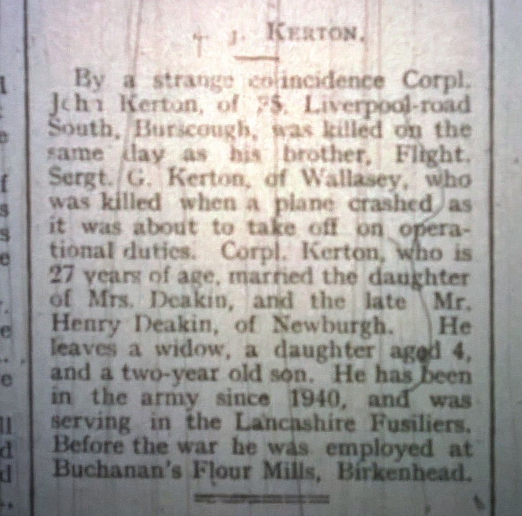 Kerton Cpl Burscough Killed in action