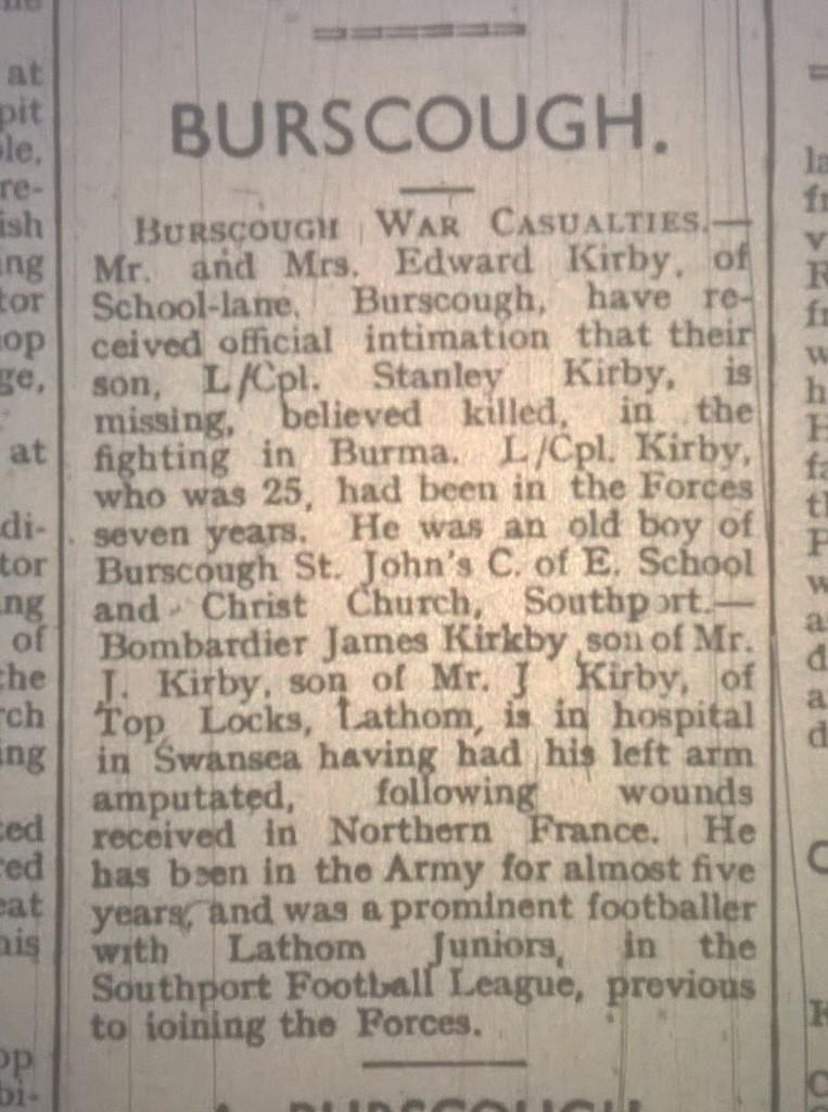 Kirby of school lane Killed and kirby of top locks wounded Burscough lathom lads